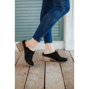 Toms   Leila Block Heel Black Suede Mules 7.5